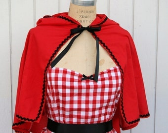Little Red Riding Hood cape Storybook  red CAPE  for women black ric rac trim fairy tale costume
