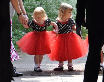 TUTU  DRESS black white polka dot red skirt baby toddler girl Christmas holiday birthday party dress portrait flower girl special occasion