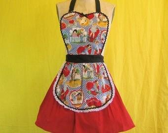 apron, vintage Valentines apron Retro APRON  vintage Valentines printed womens full APRON  hostess gift for entertaining SALE