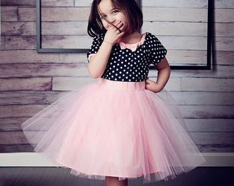 TUTU  Dress holiday dress black and white polka dot Pink for baby toddler girl birthday party dress portrait flower girl or special occasion