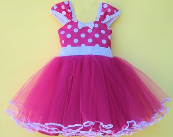 MINNIE MOUSE costume  dress Tutu  Party Dress  in Hot pink Polka Dots super twirly  dress 1st Birthday party  Ships