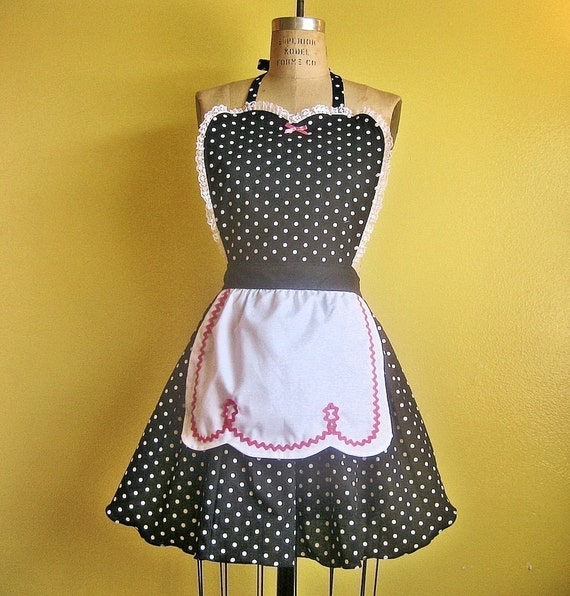 BLACK POLKA DOT APRON with fifties ric rac details make a sexy hostess and is vintage inspired full apron