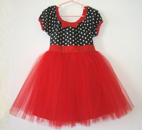 Princess TUTU  DRESS in retro black and white polka dot with RED tulle skirt for baby toddler or little girl CAN CUSTOMIZE .... fun birthday party dress portrait flower girl  or special occasion tutu dresses party dress from Lover Dovers Clothing