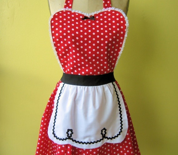 retro apron I LOVE LUCY .... fifties red polka dot apron black sexy hostess gift and is vintage 50s inspired womens full apron