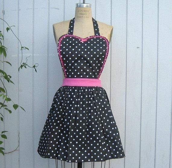 Womens apron Retro full APRON  Black polka dot vintage style flirty aprons or hostess gift