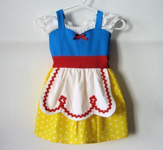 SNOW WHITE costume dress for toddlers baby and girls fun for special occasion or tea party handmade  costume