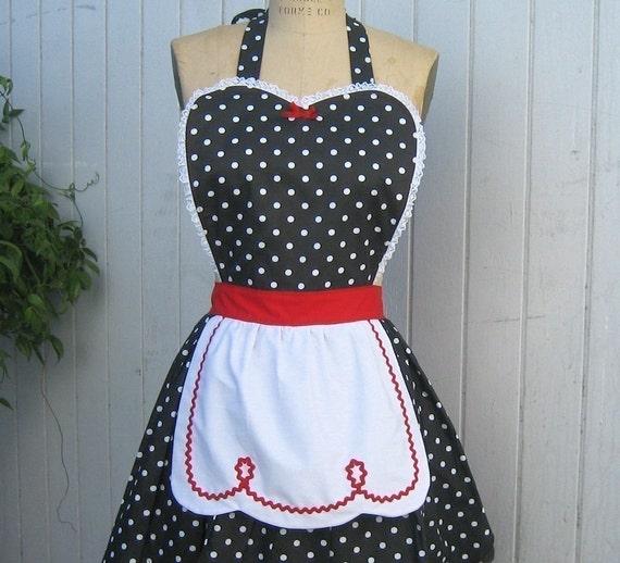 apron LUCY  retro apron  red with black polka dot womens full apron make a flirty hostess gift
