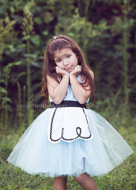 ALICE IN WONDERLAND costume  dress retro Apron dress for girls fun tutu dress for tea party handmade costume