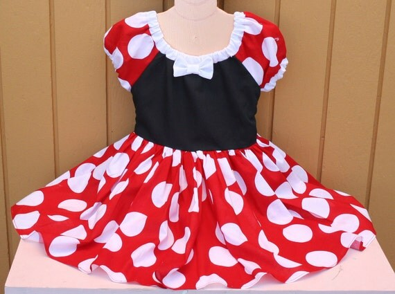 MINNIE MOUSE Dress  in red Polka Dots super twirly peasant dress costume Birthday party Peagant Flower girl