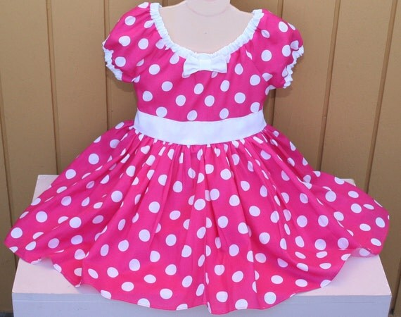 MINNIE MOUSE dress  Party Dress  in Hot pink Polka Dots super twirly peasant dress costume Birthday party