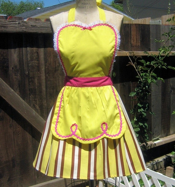 apron yellow apron stripes apron Waitress RETRO yellow with brown womens full apron bridal shower  vintage inspired SALE