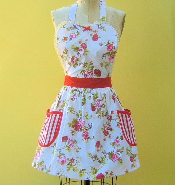 apron Cottage Chic pretty floral red Womens Retro full APRON  with pockets vintage style flirty gift aprons