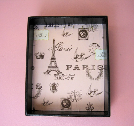 JEWELRY DISPLAY BOX with pretty Paris printed paper with the Eiffel Tower and little Birds will hold your favorite necklaces and trinkets