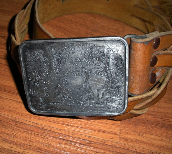 1974 Alice In Wonderland // Woven Toffee Leather Belt & Pewter Buckle