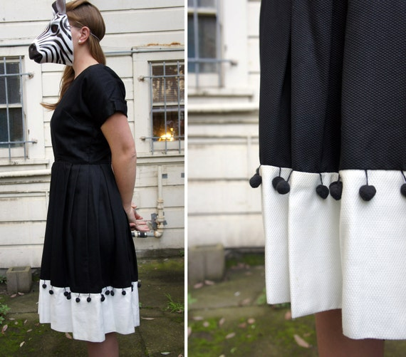 Black and White Cotton 50s Day Dress with Black Dangling Pom Pom Trim by Alison Ayres - sz M/L