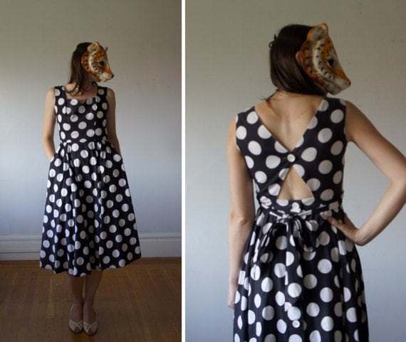 Vintage 50s Giant Polka Dot Day Dress with Cut Out Back from I. Magnin - S/M
