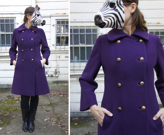 Purple Lord and Taylor Fitted Wool Dressy Peacoat with Brass Bird Buttons - S/M