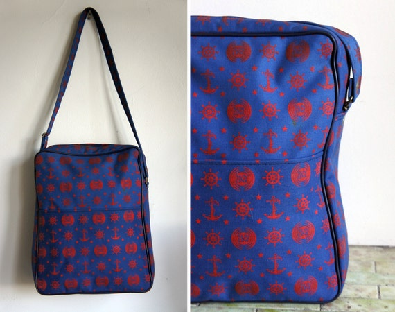Nautical Vintage Sun Line Cruise Zippered Blue Travel Tote Bag with Red Anchor Printed Pattern