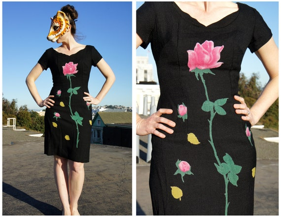 Vintage 50s 60s Black Linen Wiggle Dress with Scallop Slit and Novelty Rose Floral Print | Small/Medium