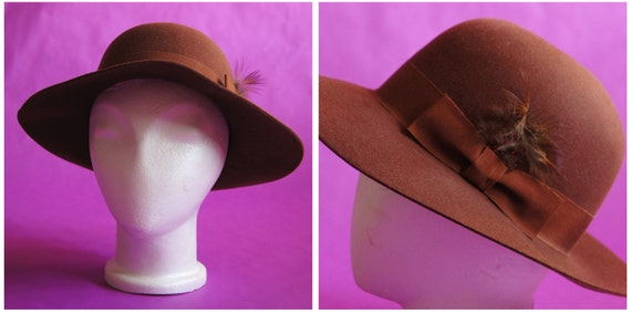 Vintage 70s Floppy Brown Boho Hat with Bow Band and Feather by Betmar New York