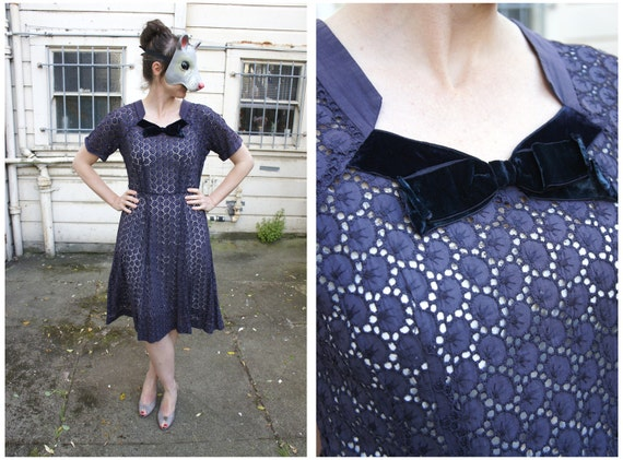 Vintage 50's Navy Peekaboo Eyelet Party Dress - sz M/L