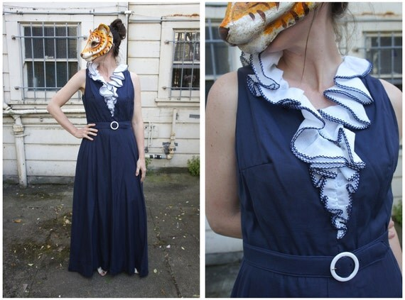 Vintage 70s Navy Blue Maxi Dress with Huge Ruffle and Matching Belt by Melissa Lane   Medium