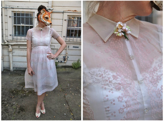 Vintage 50s Sheer White Dress with Pink Flocked Scalloped Flowers and Cute Collar- sz M