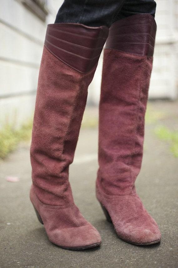 vintage mauve suede boots with leather detail sz 7