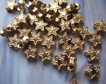 Vintage Star Beads 18k Gold Plated 25