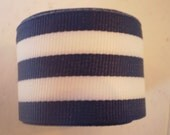 5 Yards 1.5 inch wide Dark Blue White Striped Grosgrain - proceeds fight cancer