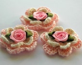 3 Pink and Cream Embellished Crochet Flowers