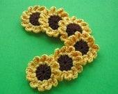 Crochet Applique Sunflowers x 6