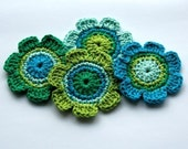 Crochet Applique in Blue and Green Shades