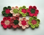 Crochet Flowers in Pinks and Green