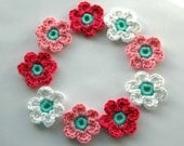 Crochet Flowers in Pink, White and Aqua