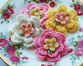 Crochet Flowers in Pink, Yellow and Cream