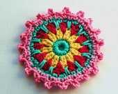 Crochet Embellishment /Coaster in Pink, Aqua and Yellow