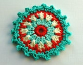 Crochet Embellishment /Coaster in Aqua, Cream and Red