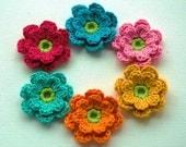 Crochet Applique Flowers in Bright Zesty Shades x 6