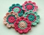 Crochet Flower Motifs in Pink and Aqua Blue