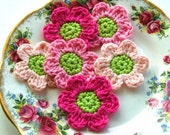 Crochet Flowers in Pink and Lime x 6