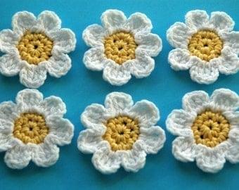 Organic Cotton Yellow and White Crochet Flowers