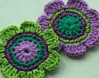 NEW Crochet Applique for Embellishment - Purple and Lime