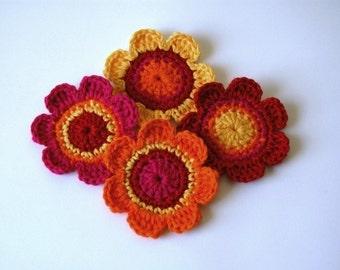 Crochet Applique Motifs - in Hot Colours