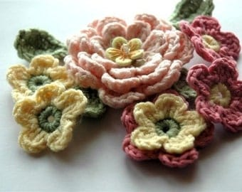 Crochet Flower Applique - Bouquet of Flowers