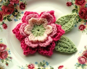 Crochet Flower in Pink and Green