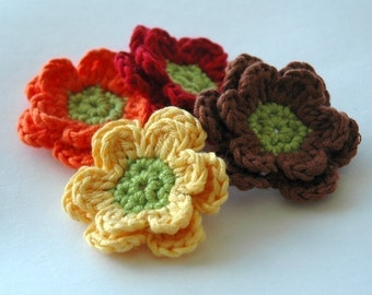 Crochet Applique Flowers - Autumn Fall Flowers