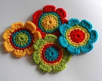 NEW Crochet Motifs for Embellishment - Rainbow Shades