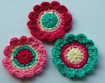 Crochet Applique in Pink and Aqua Blue
