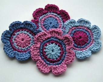 Crochet Motifs for Embellishment - Purples and Blues